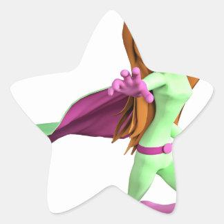 Chica estupendo de Toon en verde y rosa Pegatina En Forma De Estrella