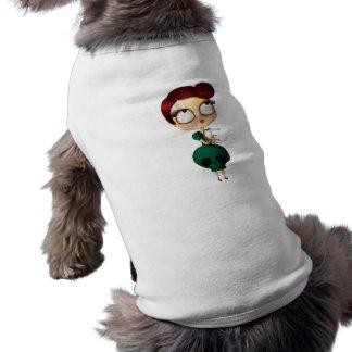 Chica fantasmagórico con el oposum prenda mascota