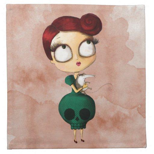 Chica fantasmagórico con el oposum servilletas imprimidas