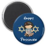 Chica feliz del Passover Imán De Frigorífico