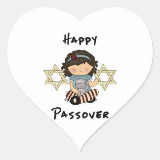 Chica feliz del Passover Pegatina En Forma De Corazón