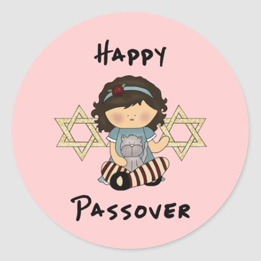 Chica feliz del Passover Pegatina Redonda