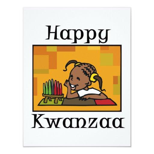 """Chica feliz Kinara de Kwanzaa Invitación 4.25"""" X 5.5"""""""