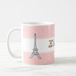Chica femenino de la torre Eiffel elegante y de Taza Básica Blanca