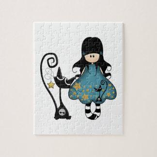 Chica femenino del gótico con el gato negro rompecabeza