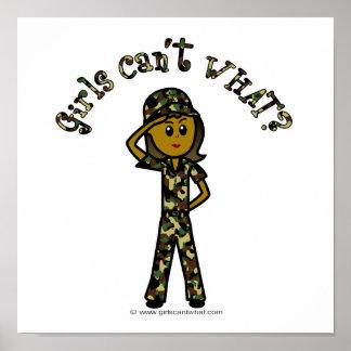 Chica femenino oscuro del ejército impresiones