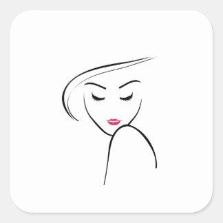 chica flaco en lápiz labial rosado calcomania cuadrada personalizada