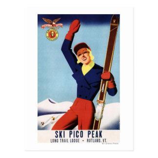 Chica flexible del esquí del Pin-Para arriba del Postales