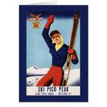 Chica flexible del esquí del Pin-Para arriba del Tarjeta De Felicitación