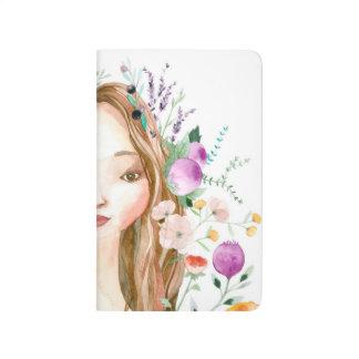 Chica floral cuaderno grapado