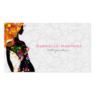Chica floral retro colorido y damasco floral blanc tarjeta de visita