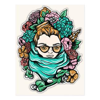 Chica florecido postales