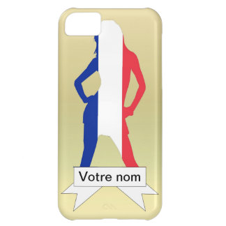 Chica francés en fondo del oro carcasa iPhone 5C