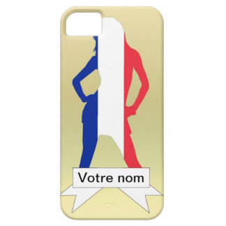Chica francés en fondo del oro funda para iPhone SE/5/5s
