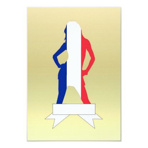 """Chica francés en fondo del oro invitación 3.5"""" x 5"""""""