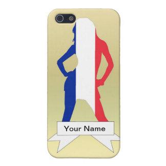 Chica francés en fondo del oro iPhone 5 funda