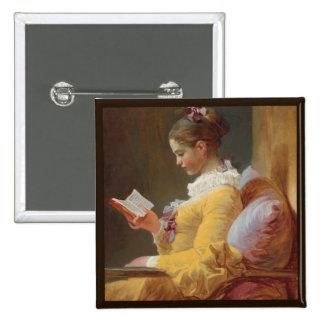 Chica francés en la lectura amarilla del vestido pin cuadrado