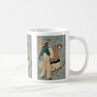 Chica francés que camina con el perro por Utagawa, Tazas