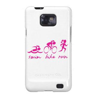 Chica funcionado con bici de la nadada tri samsung galaxy s2 fundas