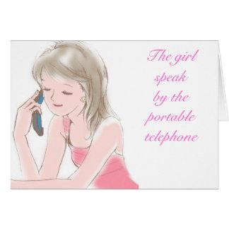 chica gabbing en el teléfono celular tarjeta de felicitación