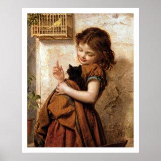 Chica, gato del gatito y poster del vintage del pá