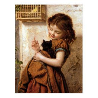 Chica, gato y pájaro - pintura del gatito del tarjetas postales