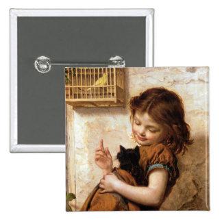 Chica gato y pájaro - pintura del gatito del vint