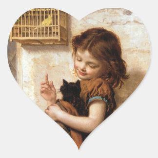 Chica gato y pájaro - pintura del gatito del vint pegatina corazon personalizadas