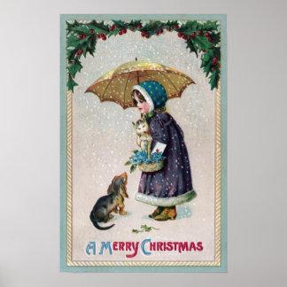 Chica, gato y perro debajo del paraguas en vintage póster