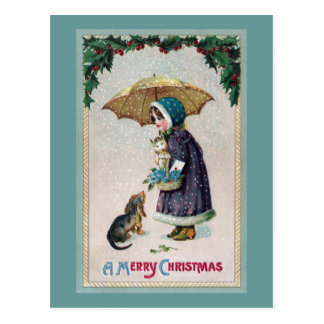 Chica gato y perro debajo del paraguas en vintage postal