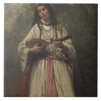 Chica gitano con la mandolina azulejo cuadrado grande