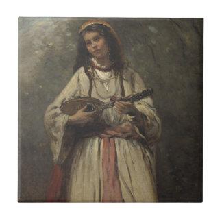 Chica gitano con la mandolina azulejo cuadrado pequeño