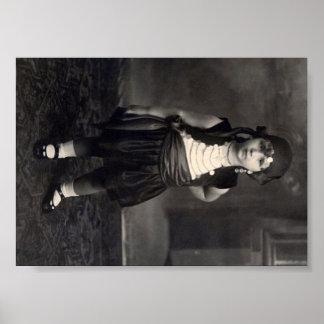 Chica gitano del vintage - foto blanco y negro vie póster