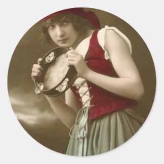 Chica gitano del vintage etiquetas redondas