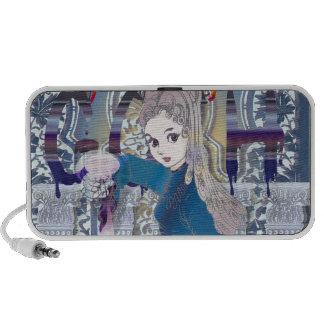 Chica gótico laptop altavoz