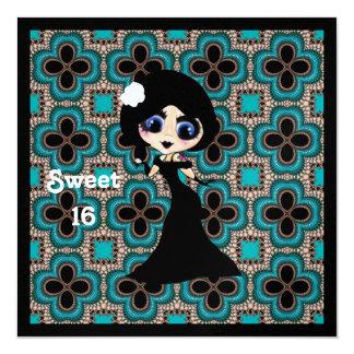 """Chica gótico de Kawaii Lolita ArtDeco Invitación 5.25"""" X 5.25"""""""