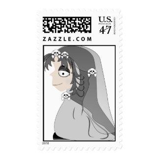 Chica gótico del fantasma sello