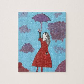 Chica gótico del paraguas puzzle con fotos