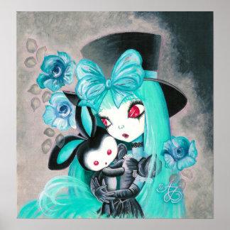 Chica gótico dulce con el conejito poster