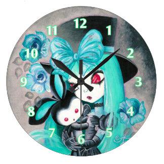 Chica gótico dulce con el conejito reloj redondo grande