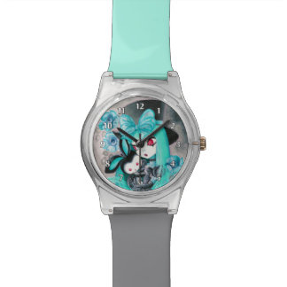 Chica gótico dulce con el conejito relojes de pulsera