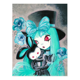 Chica gótico dulce con el conejito tarjetas postales
