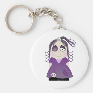 Chica gótico remendado en púrpura llaveros