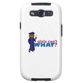Chica graduado en vestido azul galaxy SIII protectores