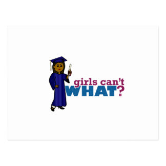 Chica graduado en vestido azul postal