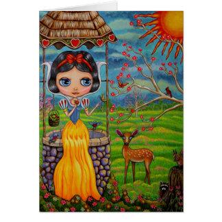 Chica grande lindo del ojo con desear bien y tarjeta de felicitación