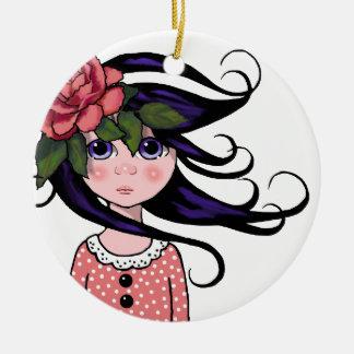 Chica Grande-Observado, pelo rizado, arte SUBIÓ, Adorno Navideño Redondo De Cerámica