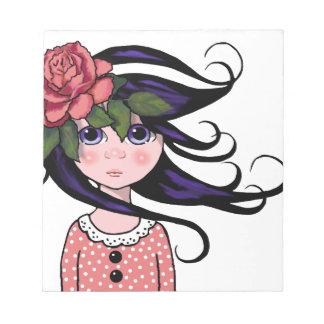 Chica Grande-Observado, pelo rizado, arte SUBIÓ, Bloc De Papel