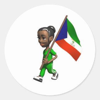 Chica guineano ecuatorial pegatina redonda