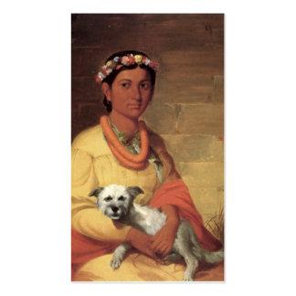 Chica hawaiano con el perro, aceite en la pintura tarjetas de visita